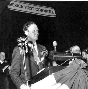 Lindbergh speaking to the America First Committee, an isolationist lobby.