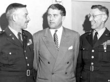Wernher von Braun, General John B. Medaris, and Brig. General Holger N. Toftoy, Redstone Arsenal, Alabama, 1947